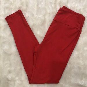 solid red OS [LuLaRoe] leggings |  LIKE NEW